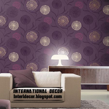 Modern living room wallpaper design ideas interior for Purple living room wallpaper