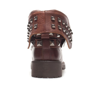 Women fashion brown studded ankle