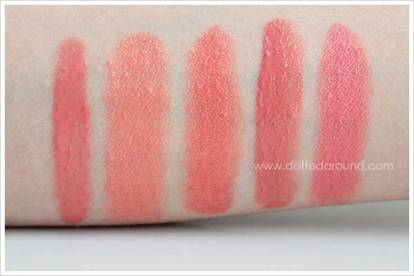 MAC Kissable Lipcolour So Vain swatches comparison Gotta Dash Ever Hip Ravishing