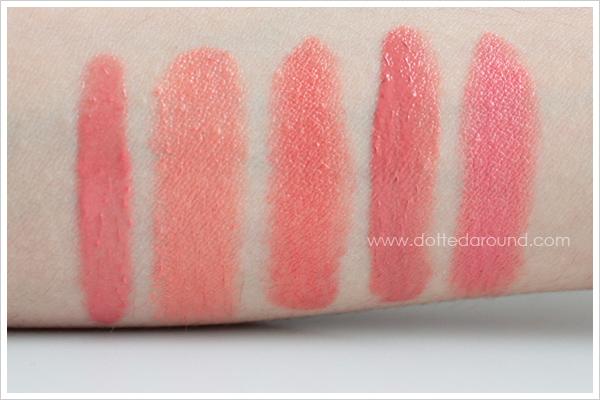 MAC Kissable Lipcolour So Vain swatches comparison Gotta Dash Ever Hip Ravishing