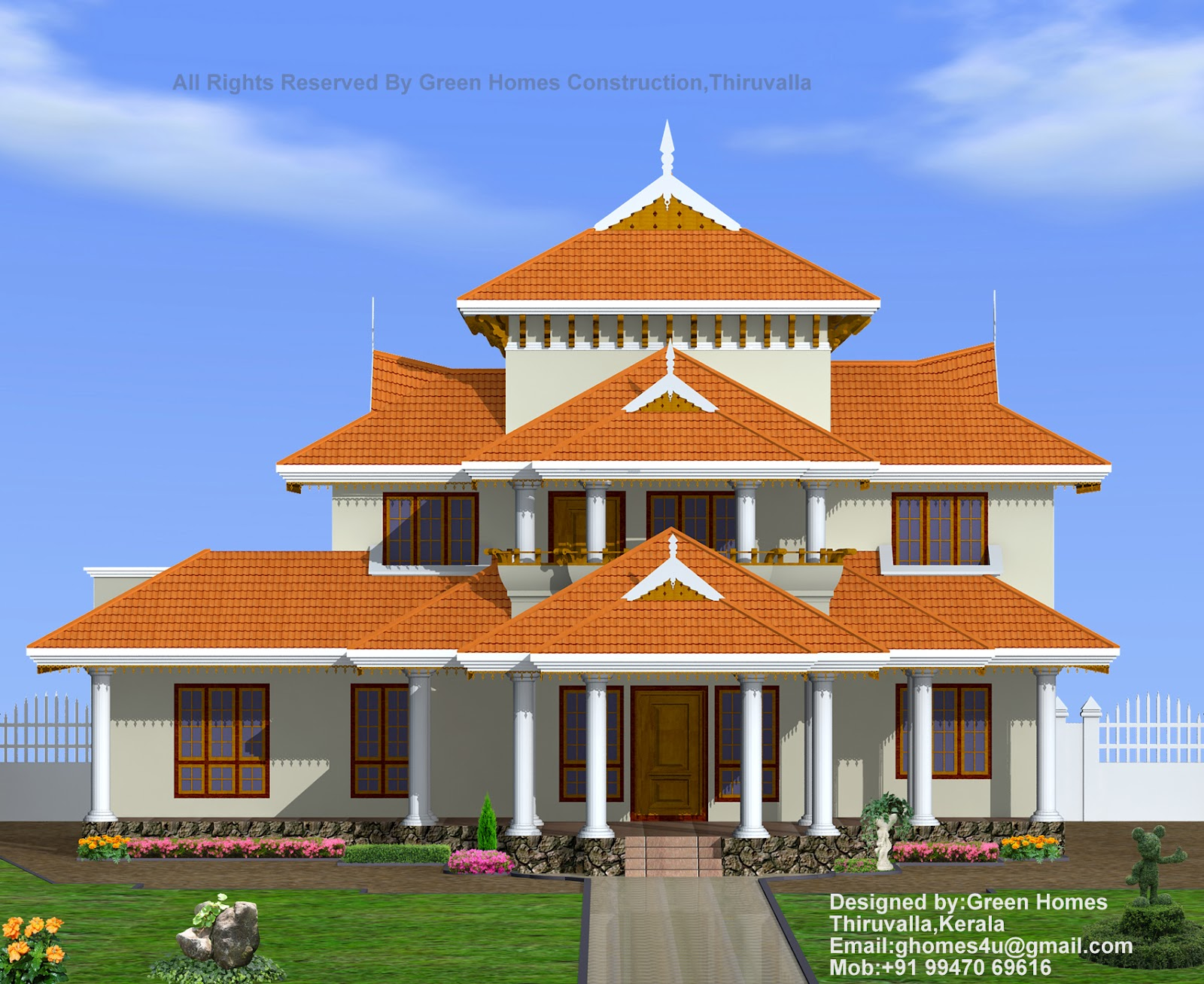 Green homes traditional kerala style house design 4000 sq for Home construction styles