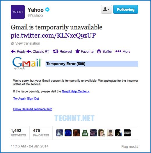 ياهو تسخر من عطب Gmail وتعتذر على تويتر