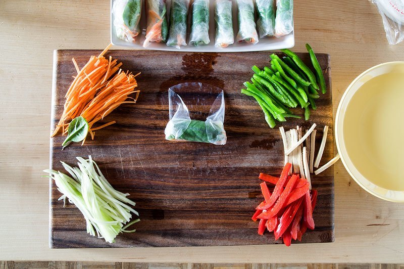 Vegan spring rolls side rice paper fold inside