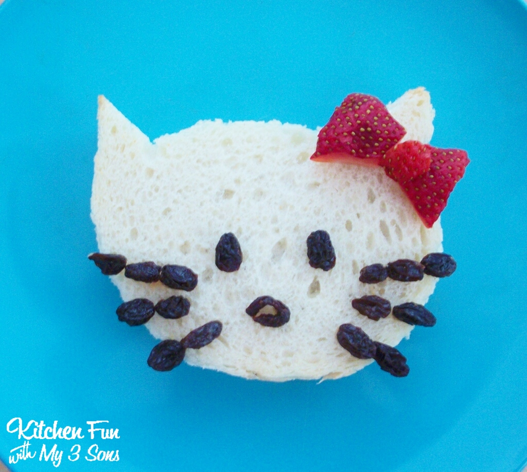 Hello Kitty Sandwich for a fun Lunch idea! KitchenFunWithMy3Sons.com