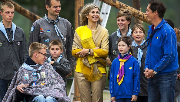 Queen Maxima of The Netherlands attended the opening of the new Scouting Estate Zeewolde a 70 acres area on the banks of Nuldernauw at the Horsterwold