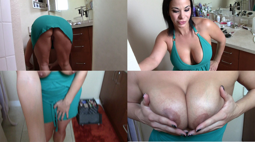 Big breasted mom jerks off