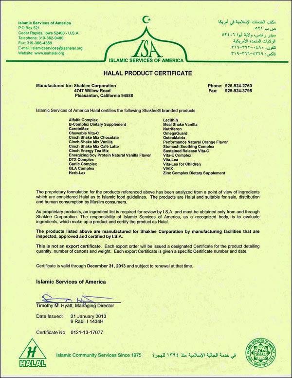 Sijil halal Shaklee yang dikeluarkan oleh ISA