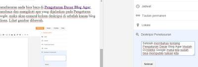 Cara Memasukan Deskripsi Penelusuran Pada Artikel Blog