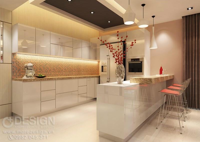 Bếp và quầy bar mini được thiết kế liên thông
