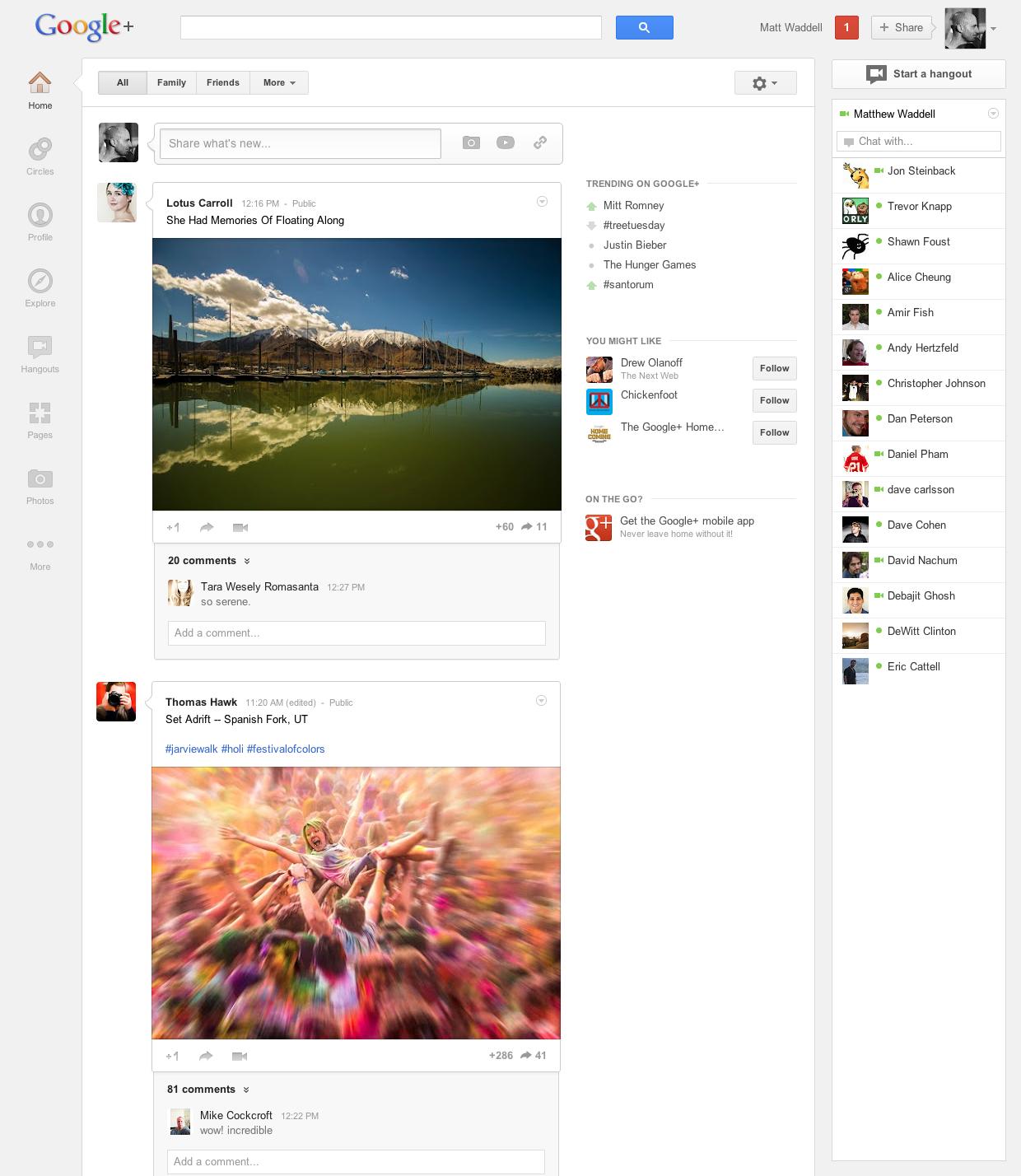 Google + får et nyt enklere design.