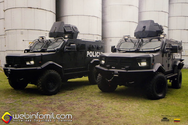 Blindados Hunter TR-12, de diseñados y fabricados en Colombia por la empresa Armor International.