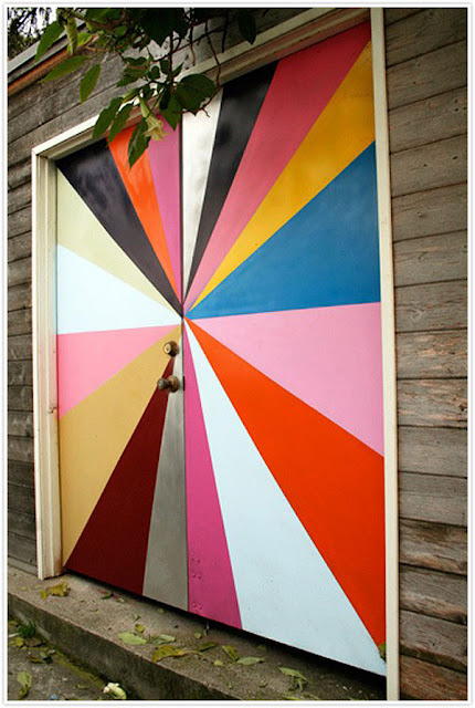 painted design, doors, graphic pattern, geometric