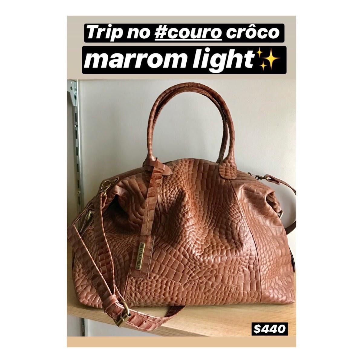 BOLSA TRIP NO COURO CRÔCO MARROM LIGHT