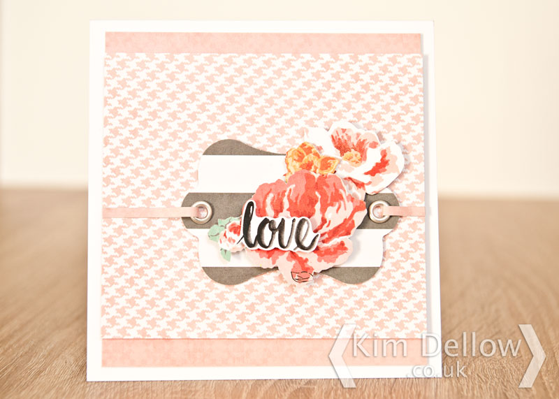 A card made using the Fiskars 3 in 1 Tag maker