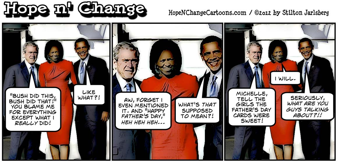Bush admits fathering Barack Obama's children, hopenchange, hope and change, hope n' change, stilton jarlsberg, conservative, tea party, political cartoon