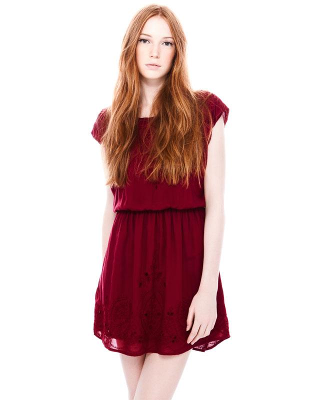 vişne renk şifon kısa elbise , kırmızı renk elbise