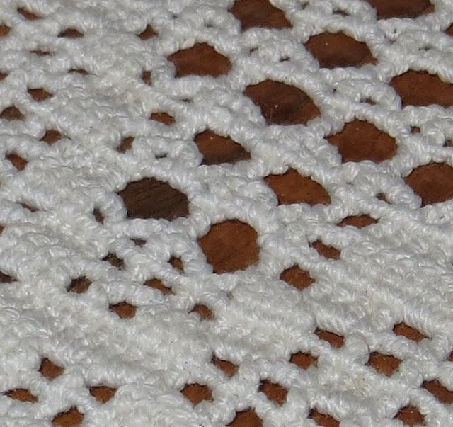 Ampliação de Fotografia macro de Naperon de Renda de Algodão com pormenores das fibras