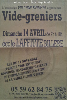 vide greniers de l'association DIN THAN KUNG-FU  dimanche 14 avril 2013