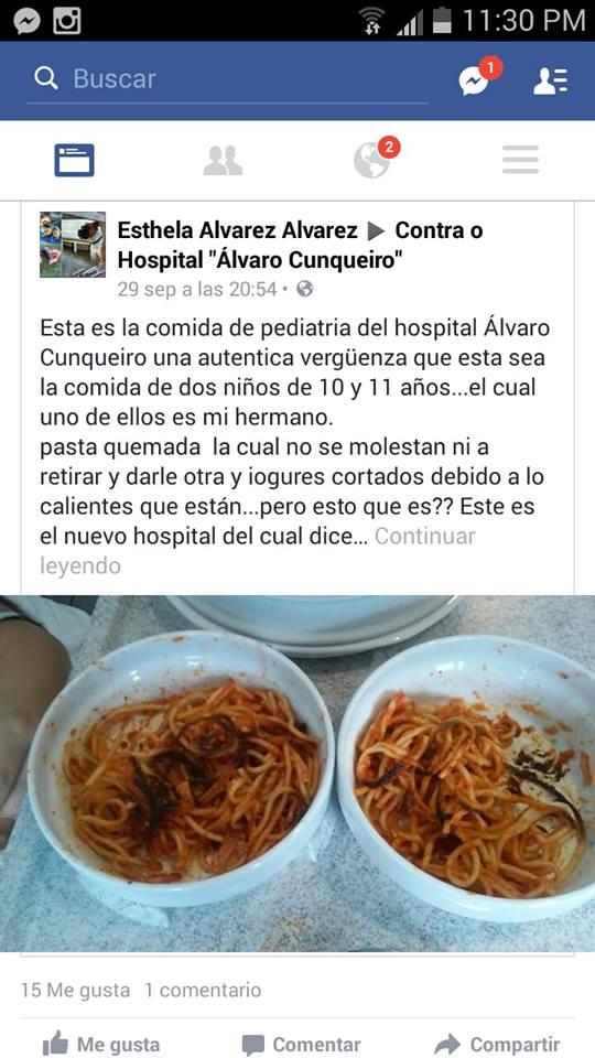 Muestras de la comida Que sirve SERUNION en el H. Álvaro Cunqueiro de Vigo
