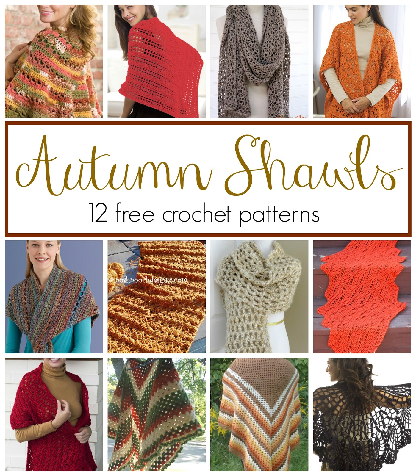 Fall Crochet Patterns : Fiber Flux: Autumn Shawls...12 Free Crochet Patterns