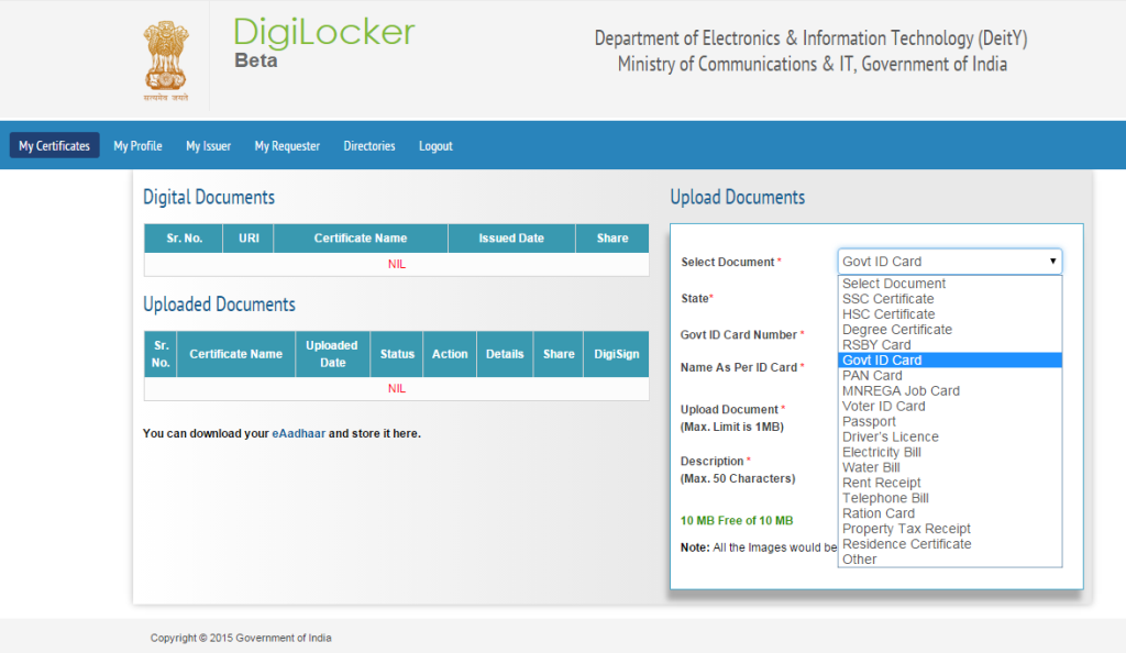 digilocker,digilocker by government,online storage digilocker,digital locker for documents,digilocker for storage,online digilocker