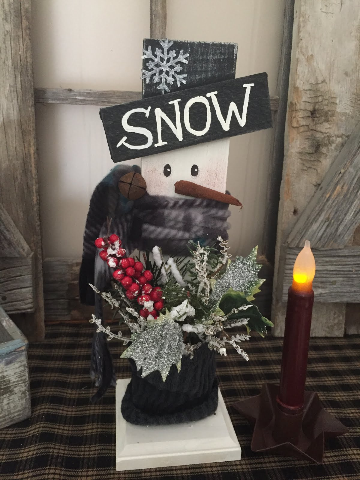 Hand Painted Wood Snowman