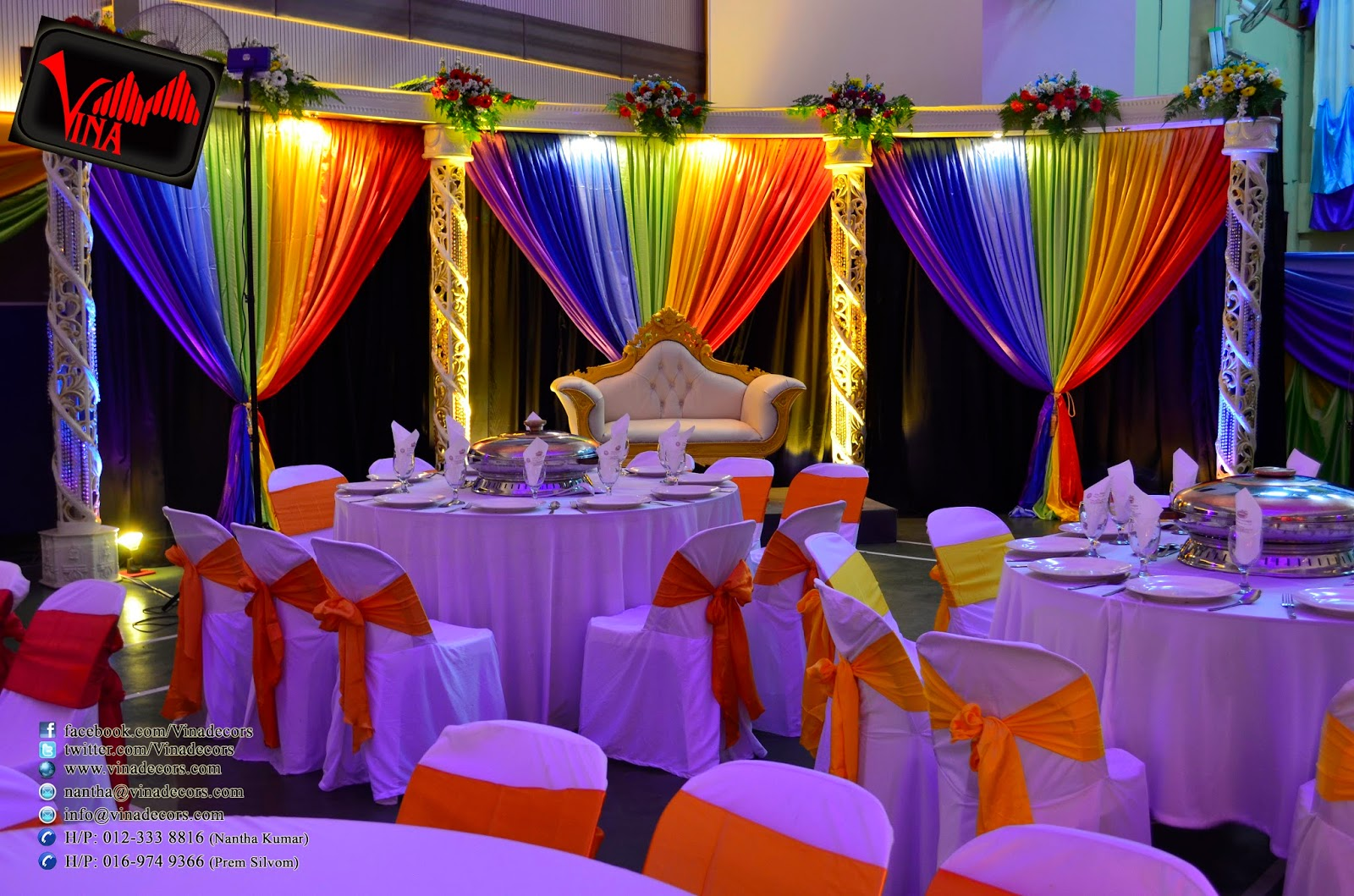 Vina canopy decor rainbow color concept wedding dinner for Wedding decoration images
