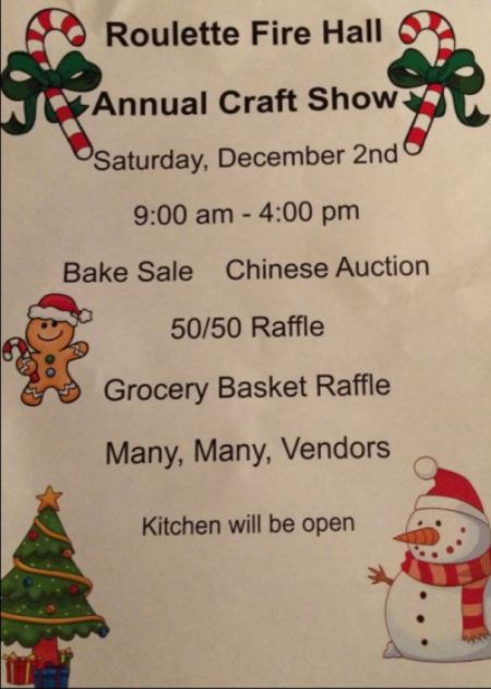 12-2 Roulette Fire Hall Annual Craft Show