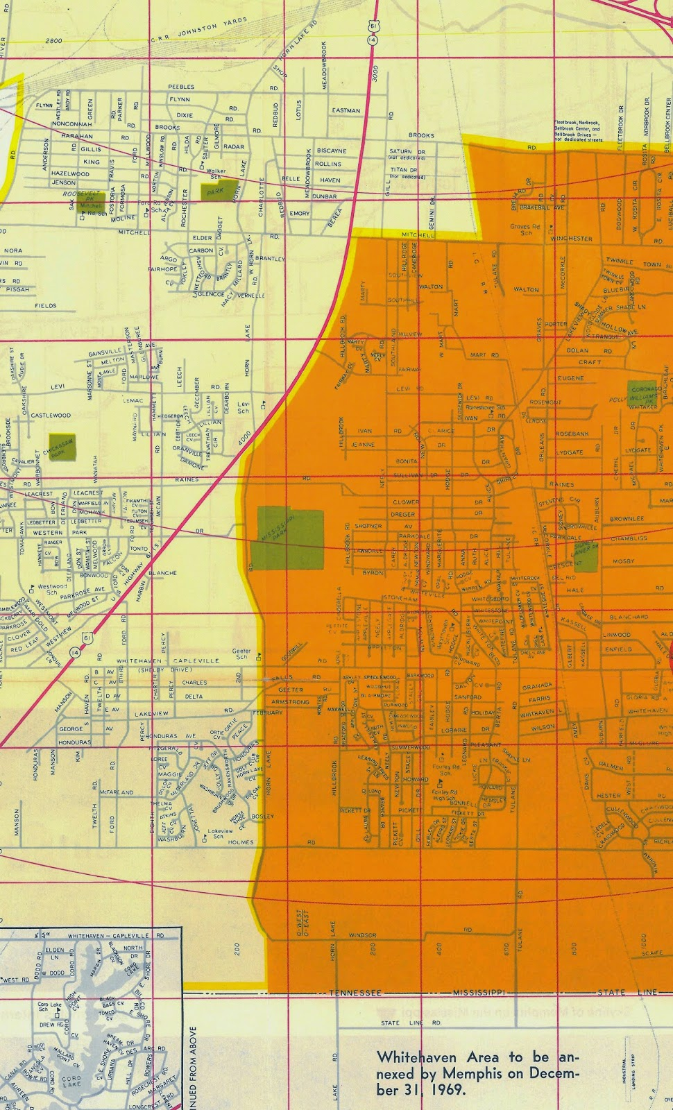 this 1969 map from memphis based graphics publications shows the pending whitehaven annexation in orange this map essentially picks up where the one above