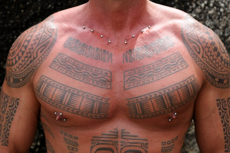 polynesian chest piece tiki tattoo koh phangan