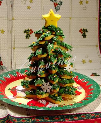 Árbol de galletas decorado con glasa
