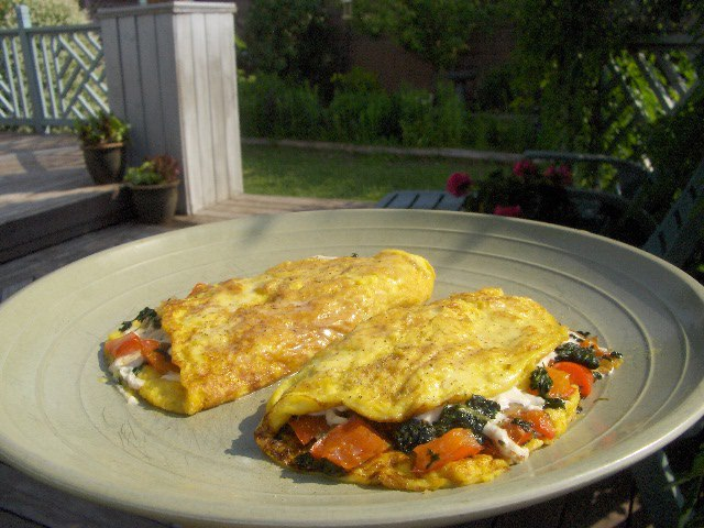 Pepper & Spinach Omelets