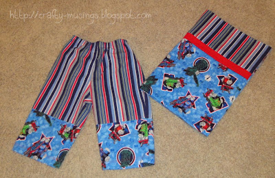 A matching pajama bottom and pillowcase set