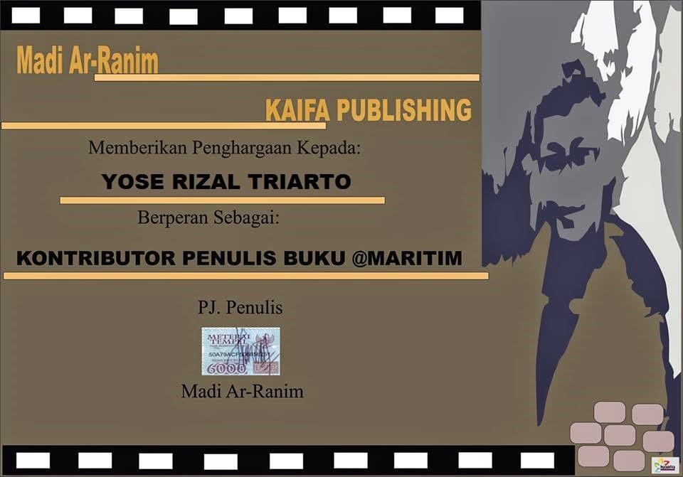 Sertifikat Kontributor Penulis Buku @Maritim by Kaifa Publishing