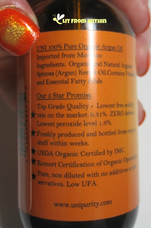 UNi 100% Organic Pure Moroccan Argan Oil  ingredients, 5star promise