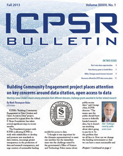 ICPSR Bulletin Fall 2013 edition