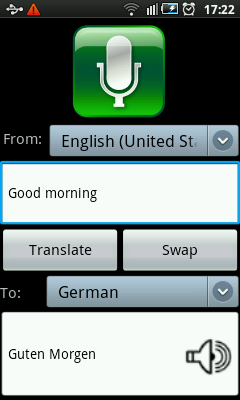 Android Voice Translator Main Screen