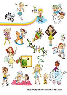 Muchos niños en dibujos para imprimir