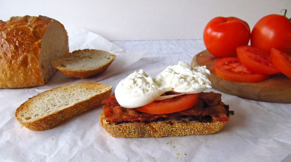 Cut Burrata Cheese on a BLT