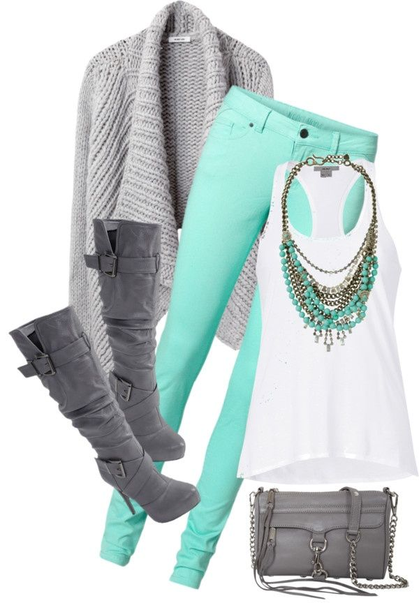 Fall fashion in mint, white and grey color