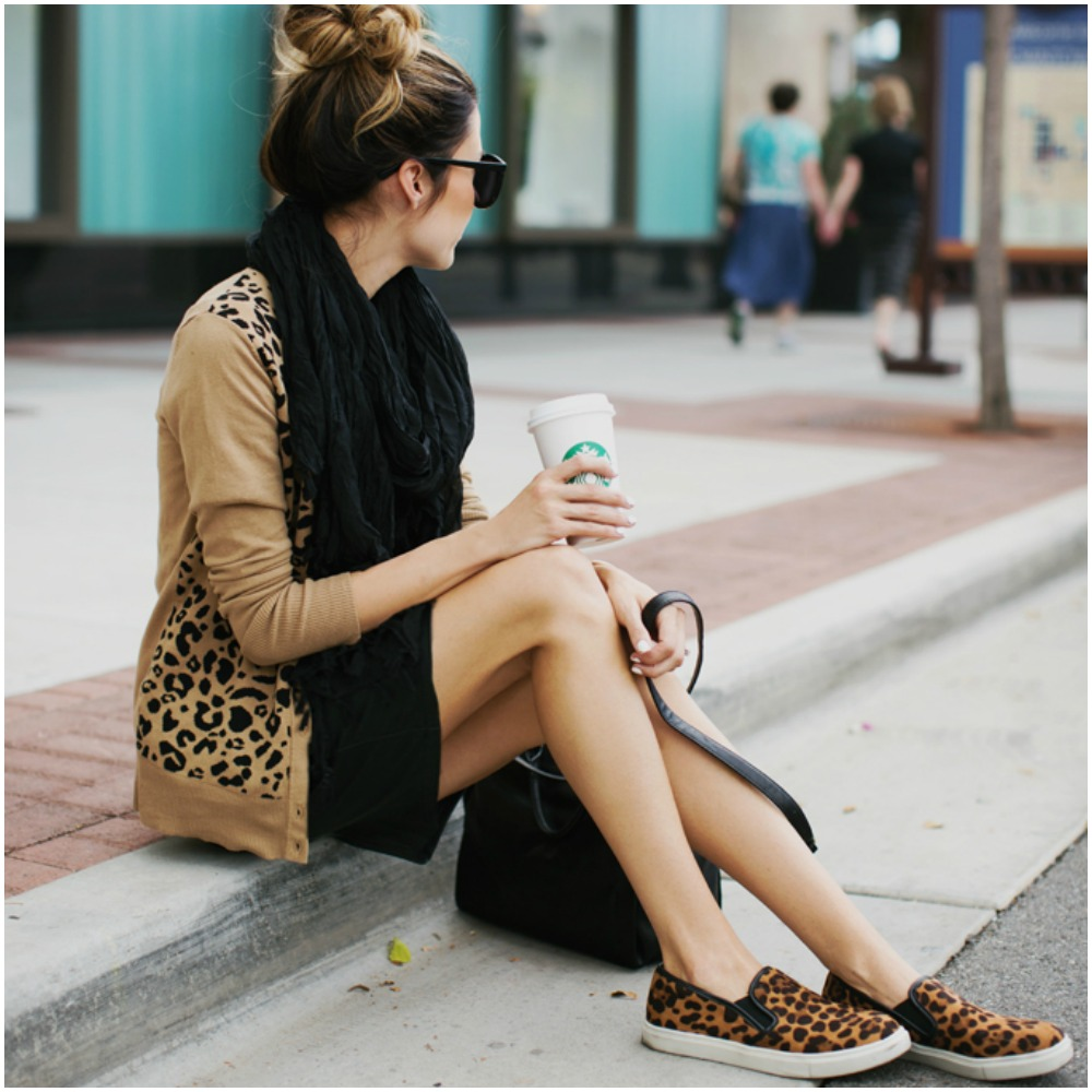 leopard print cardigan - oversized scarf - leather dress - top uk blog magazine fashion trends