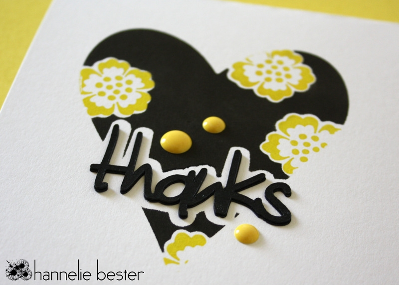 black & white - splash of yellow thank you card