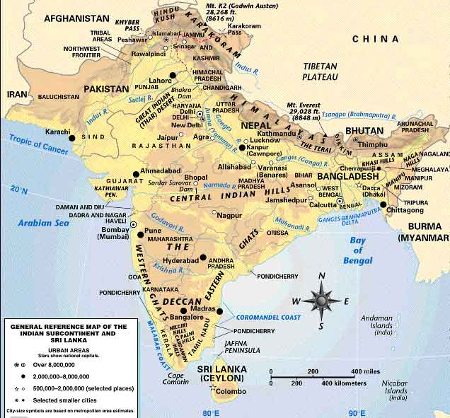 ... Indian Sub-continent - political / country and physical / mountains