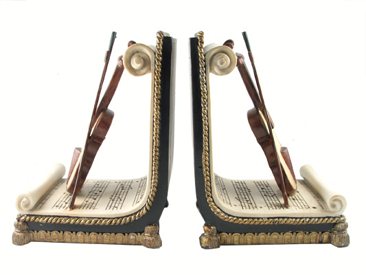 Violin And Music Sheet Bookends Making Book Ends Meet