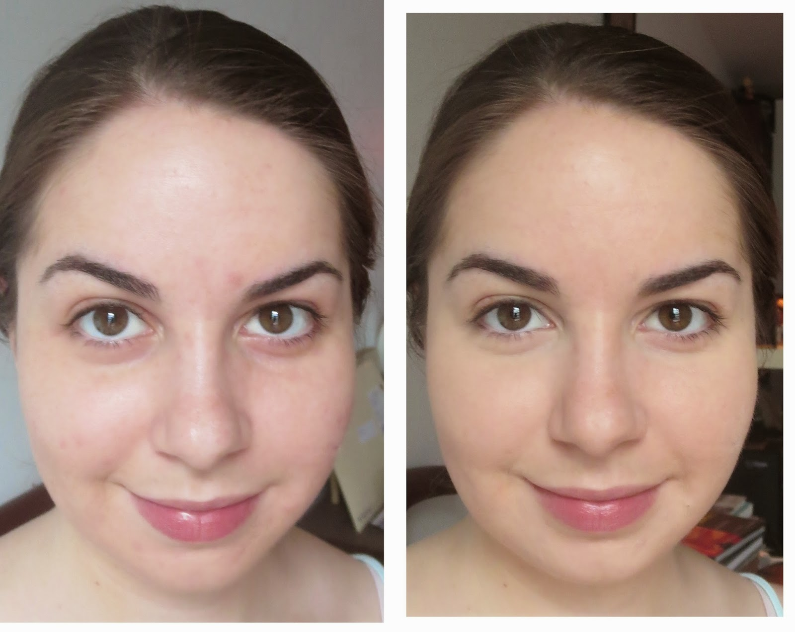 a picture of Annabelle BB cream before and after (coverage)
