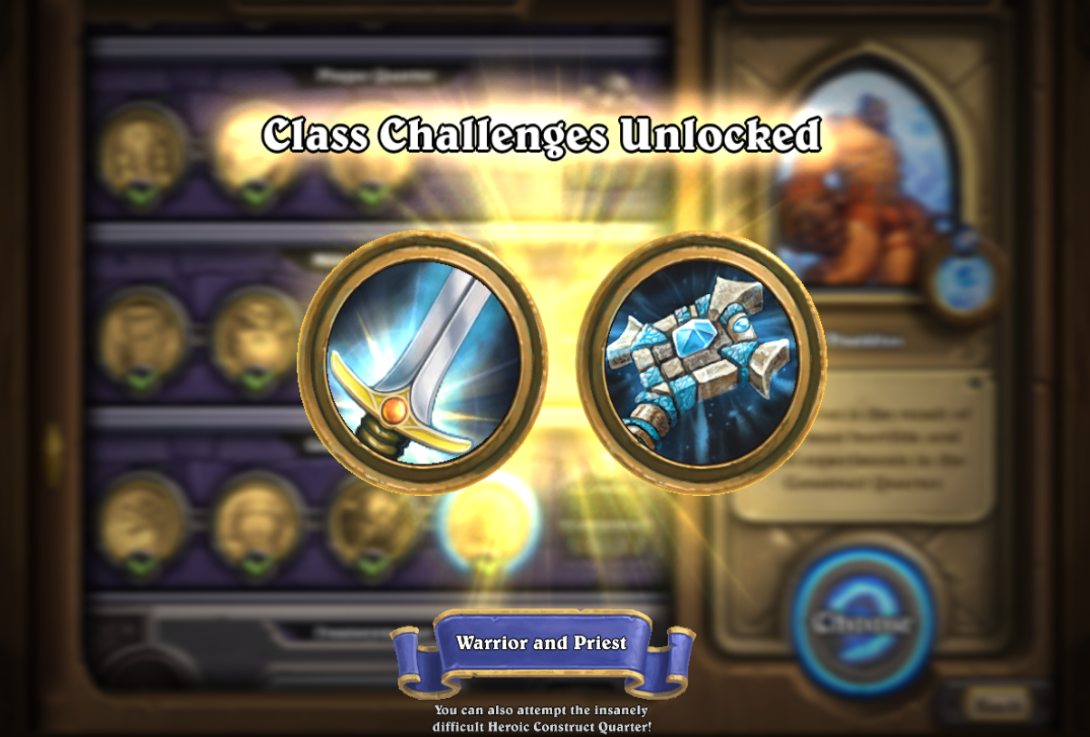 Blizzard Hearthstone The Curse of Naxxramas construct quarter walkthrough class challenge