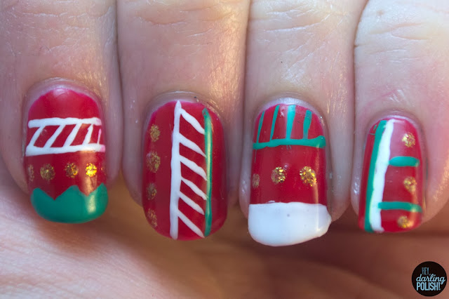 nails, nail art, nail polish, tribal, christmas, red, green, white, gold, hey darling polish