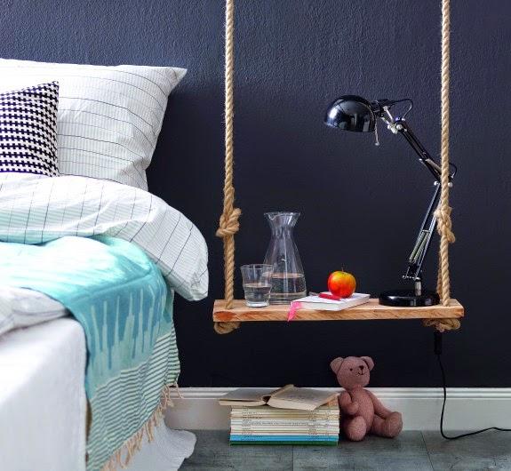 Tutorial DIY: Mesilla de noche con una tabla de madera y cuerda