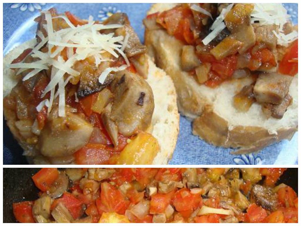 Bruschetta de hongos con tomate