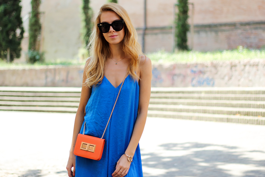 royal blue jumpsuit, maxi dress, orange mini bag, summer outfit, fashion blog